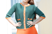 J005 short jacket with coloured lining - Alita Pleat