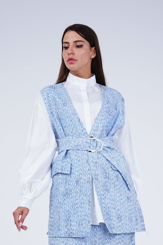 Movana Button-up Shirt & Skirt Set - Alita Pleat