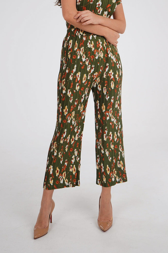 Olive Green with Flowers/Pants
