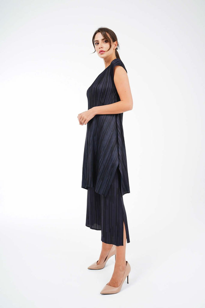 Mabel Pleated Long Top And Pants Set - Alita Pleat