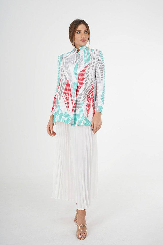 Alayna Patterned Pleated Blouse