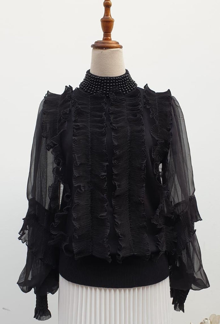Ruffle top with beaded collar - Alita Pleat