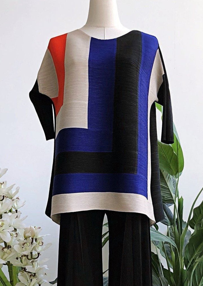 TL045 Acadia Multi-Color Block Long Sleeve Top - Alita Pleat