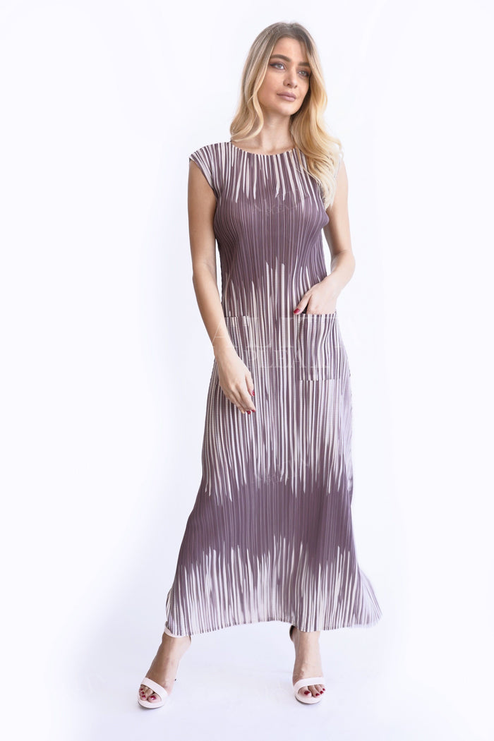 Daryl Wood Stripe Dress - Alita Pleat