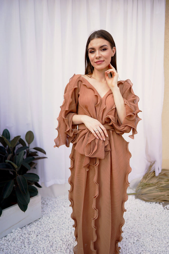 Brown (02) | Pleated Dress