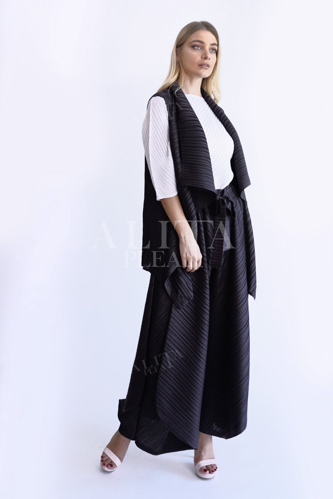 J001 large lapel long pleated jacket - Alita Pleat