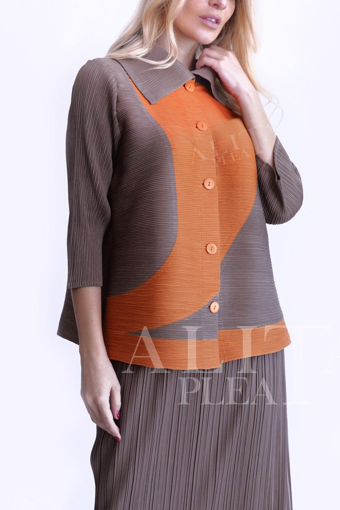 J008 half & half pleated shirt with front pockets (embassy) - Alita Pleat