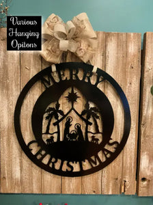 "Large 24"" Nativity Merry Christmas Decor - Customize Top/Bottom Line"