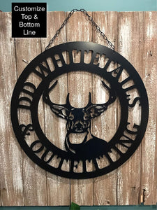 "Deer Antlers/Head - 24"" Customized Circle Hunter Gift"