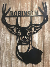 "Load image into Gallery viewer, Deer Antlers/Head - Family Name Wall Decor - 24"" Hunter Gift"