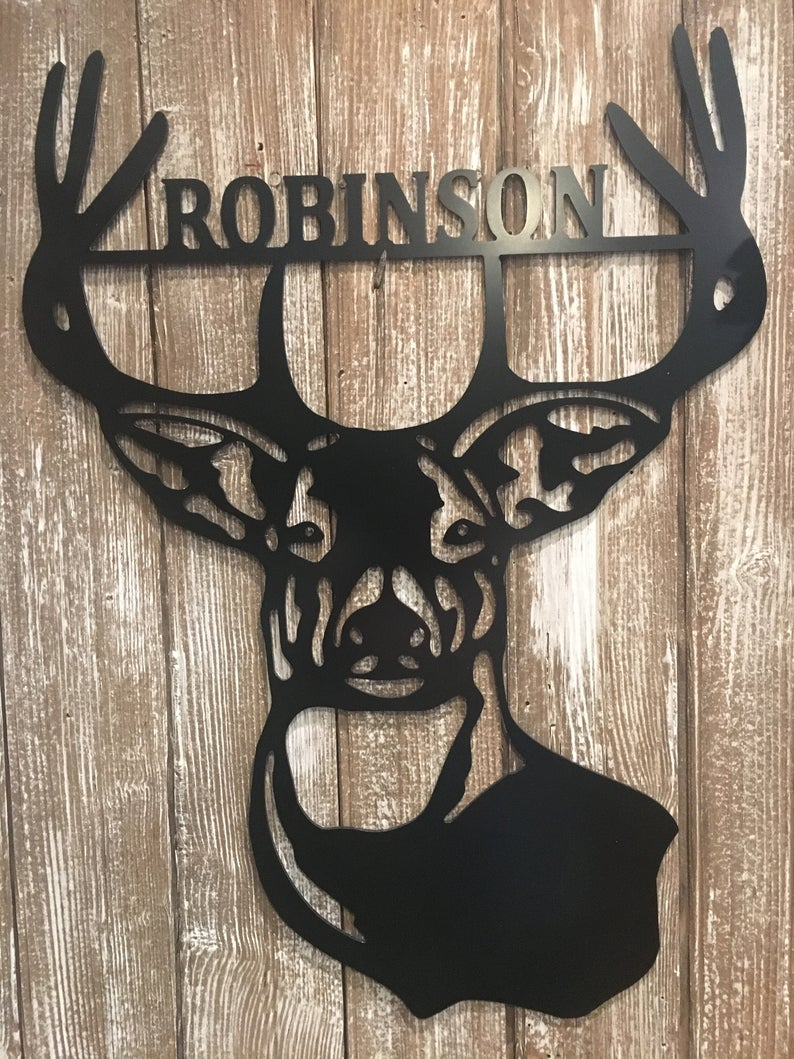 Deer Antlers/Head - Family Name Wall Decor - 24