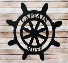 "Load image into Gallery viewer, Nautical Decor - Sailboat Wheel - Customized Beach House Decor - 24"" or 18"""