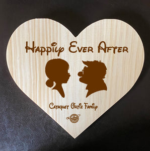 Up With Love!  Ellie and Carl Inspired Wooden Heart Love Plaque - Personalized Family Name/Est Date