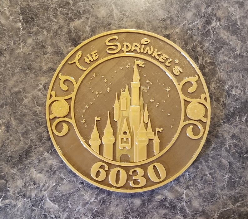 Personalized Cinderella Castle/Magic Kingdom-Inspired Address Plaque/Sign