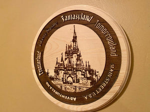 WDW Castle Celebration Sign with Lands around the Kingdom
