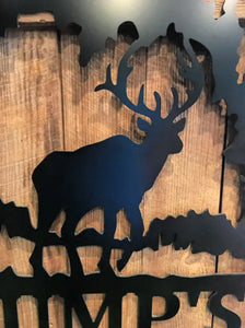 "Deer Nature + Last Name Decor - 18"" Family Custom Sign"