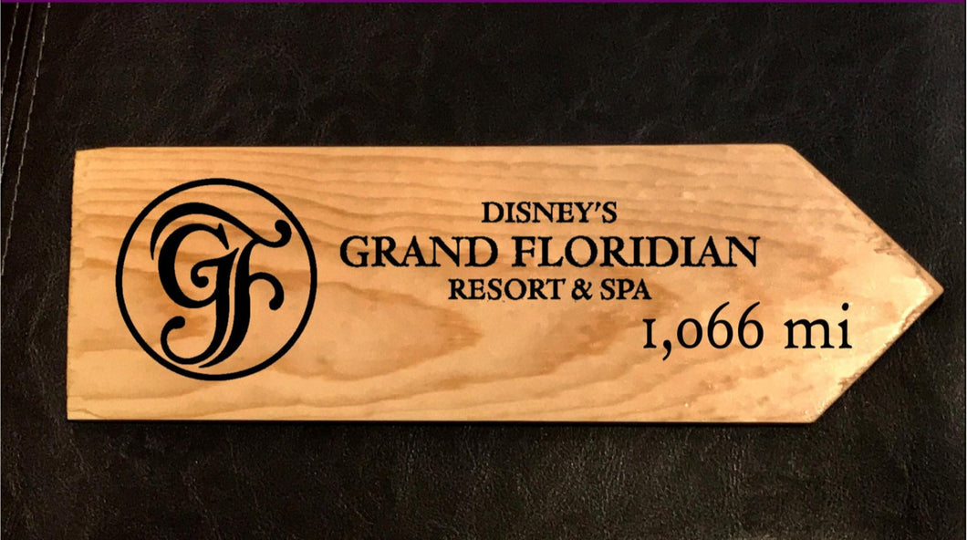 Your Miles to Disney's Grand Floridian Personalized Sign