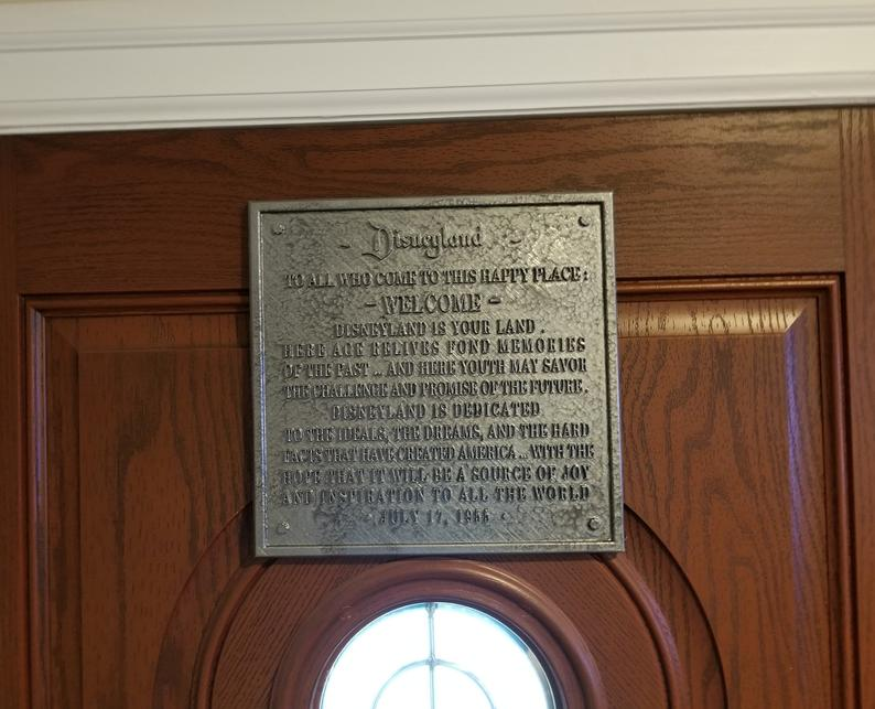 Disneyland Dedication Plaque - Inspired Replica