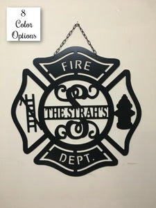 "Large 24"" Fire Department / Fire Family Personalized Monogram & Name Decor"