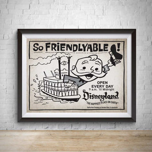 Friendlyable Vintage Disneyland Advertisement Poster