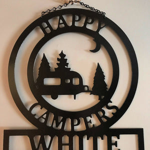 "Camper Gifts - Happy Campers Personalized Campsite Signs - Camping Gift Ideas - 16""x14"" Custom Decor"