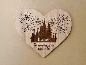 Home Is Where The Heart Is Wooden Plaque - Personalized Family Name/Est Date  - Castle Inspired