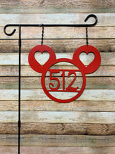 "Load image into Gallery viewer, 3 Circle Hearts - 14"" Personalized ADDRESS # Yard/Garden Flag"