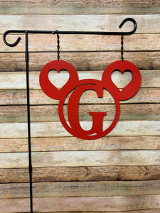 "3 Circle + Hearts- 14"" Personalized Initial MONOGRAM Yard/Garden Flag"
