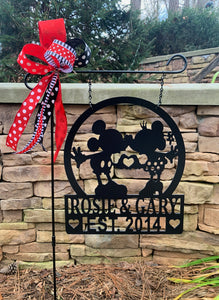 "Mickey/Minnie-Inspired Love - 2 Personalized Lines - 14"" Yard/Garden Flag Decor"