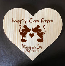 Load image into Gallery viewer, My Love!  Mickey & Minnie Inspired Wooden Heart Love Plaque - Personalized Family Name/Est Date
