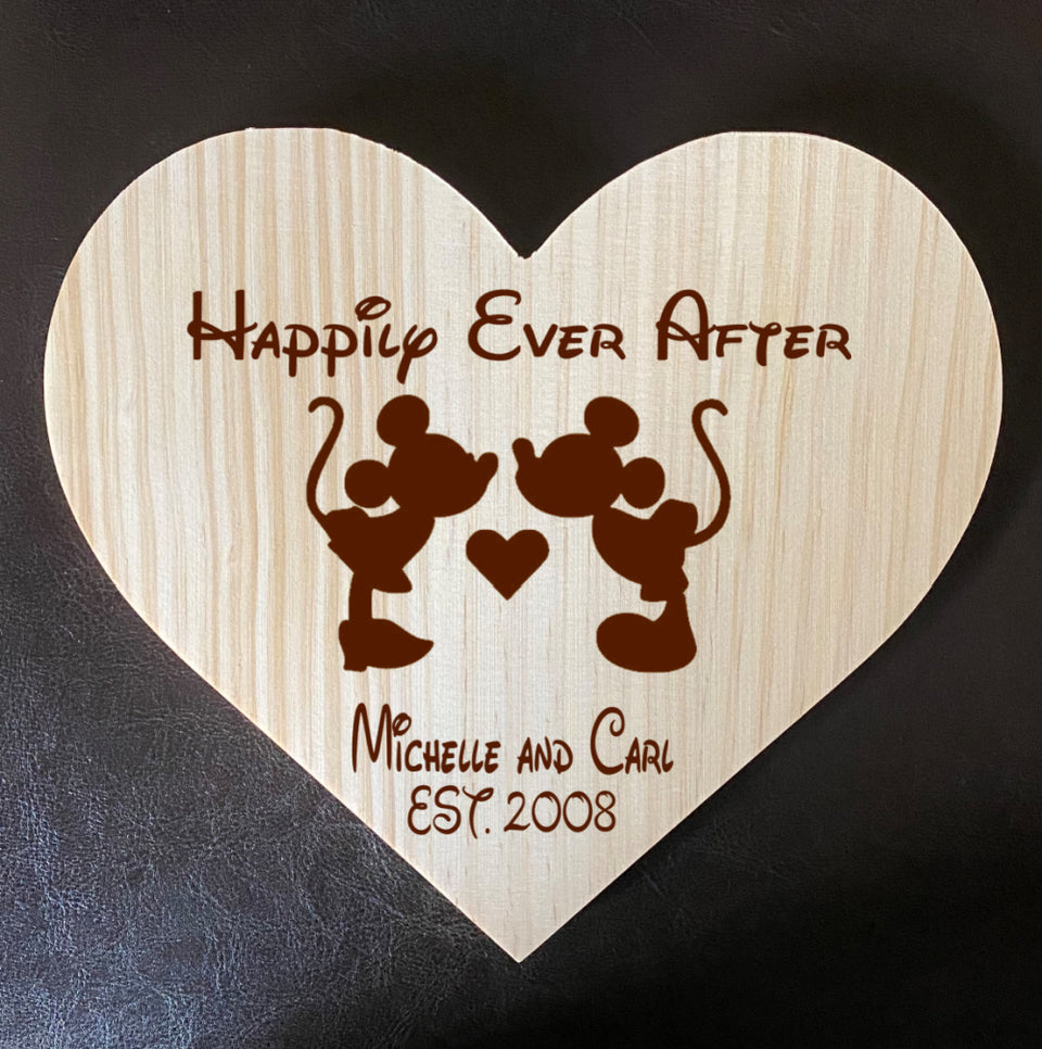 My Love!  Mickey & Minnie Inspired Wooden Heart Love Plaque - Personalized Family Name/Est Date