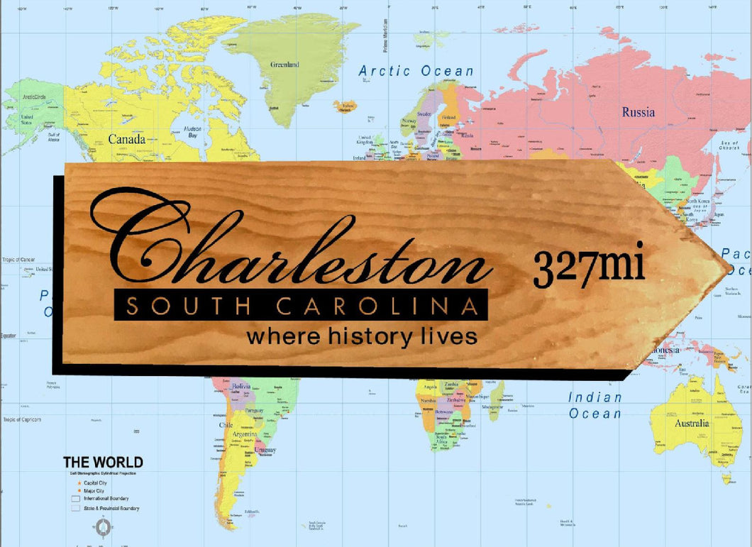 Your Miles to Charleston Personalized Sign