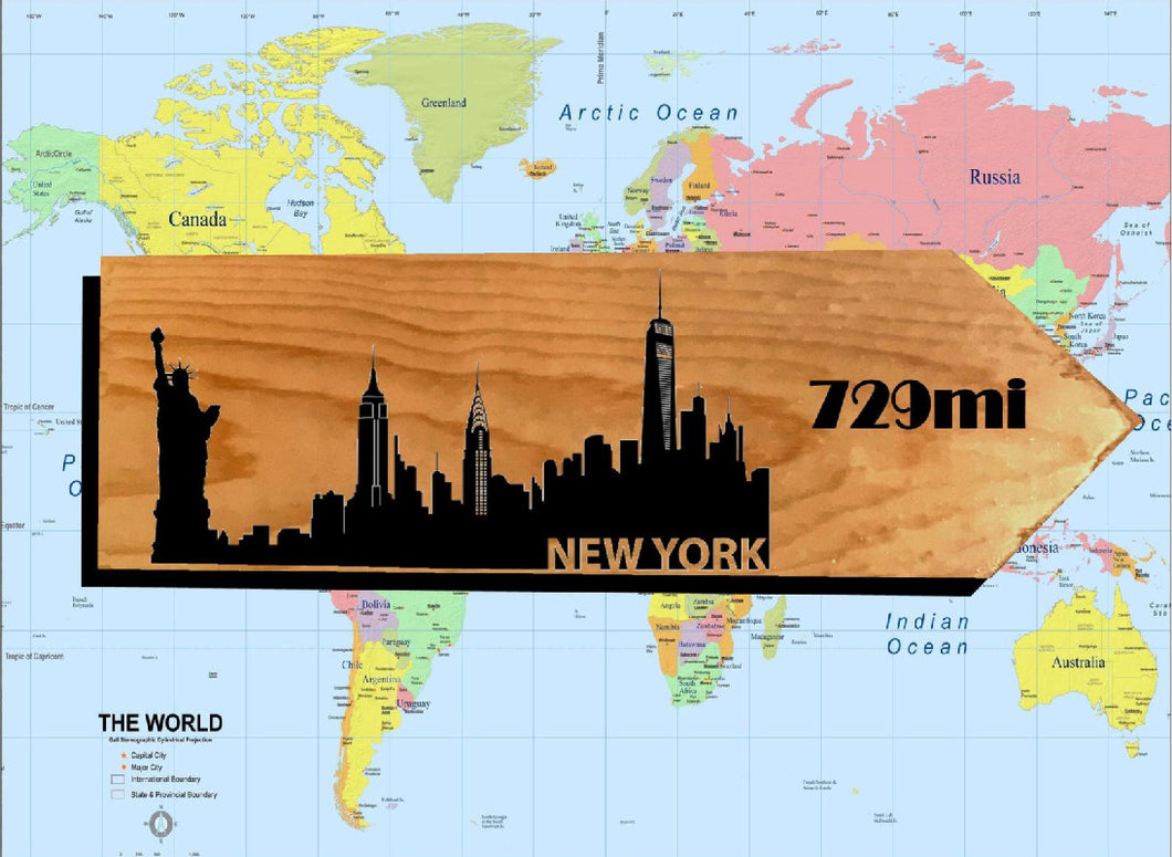 Your Miles to New York Personalized Sign