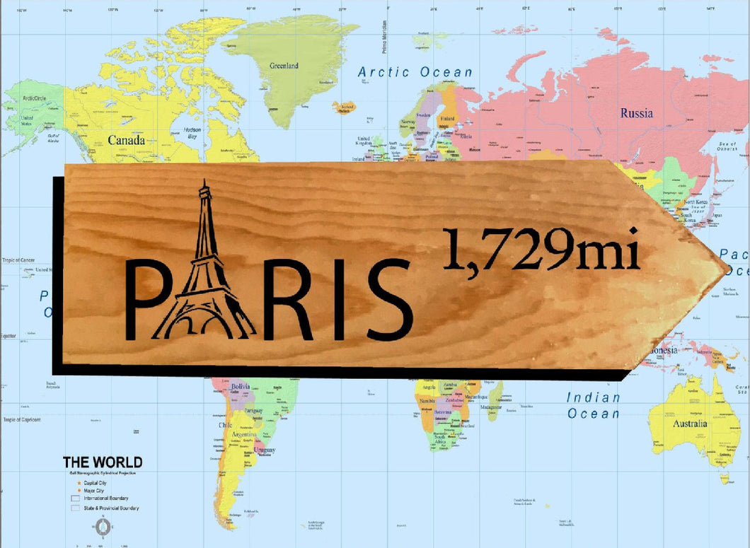 Your Miles to Paris Personalized Sign
