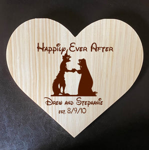 Robin Hood and Marian Inspired Wooden Heart Love Plaque - Personalized Family Name/Est Date