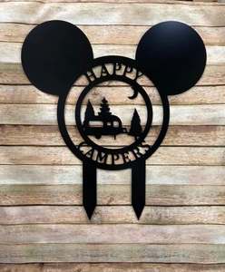 "Mickey-Inspired Camper Gifts - Happy Campers Personalized Campsite Signs - Camping Gift Ideas - 24""x22"" Campsite Sign Decor w/ Stakes"