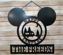 "Load image into Gallery viewer, Mickey-Inspired Camper Gifts -  Happy Campers Personalized Campsite Signs - Camping Gift Ideas - 24""x22"" Hanging Sign Decor"