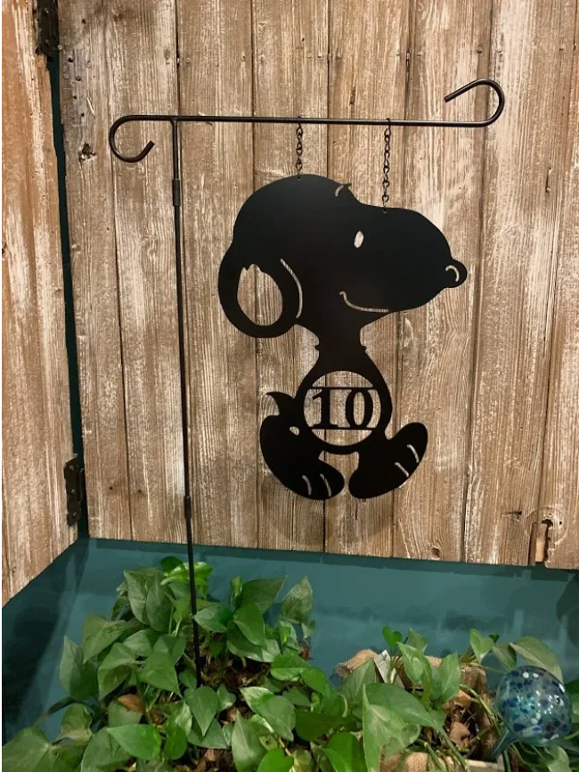 Snoopy-Inspired ADDRESS #  or Single Initial Monogram Yard/Garden Flag - Decor 12