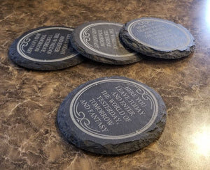 Main Street Here You Leave Today Entranceway Engraved Slate Welcome Plaque Inspired Drink Coaster Set of 4 (Disney World Prop Inspired Replica)