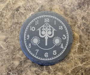 It's a Small World Engraved Clock Face Inspired - Engraved Slate Drink Coaster Set of 4