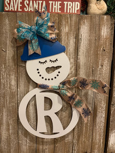 Mr & Mrs Snowman - Personalized Family Last Name Initial Christmas Monogram Hanging Sign Decor