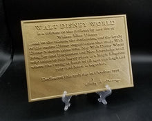 Load image into Gallery viewer, Walt Disney World Inspired Dedication Plaque Replica