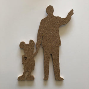 Partners Statue - Walt Disney & Mickey Mouse-Inspired Silhouette Cork Pin Board