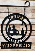 "Load image into Gallery viewer, Camper Gifts - Happy Campers Personalized Campsite Signs - Camping Gift Ideas - 16""x14"" Custom Decor"