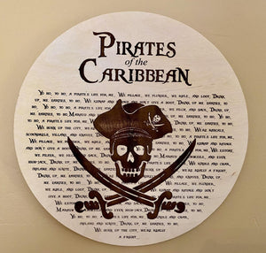 "Pirates of the Caribbean Inspired - Yo Ho A Pirate Life For Me Lyrics - 10"" Plaque"