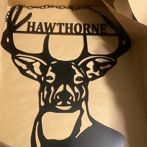 "Deer Antlers/Head - Family Name Wall Decor - 24"" Hunter Gift"