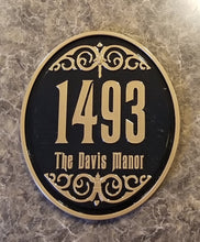 Load image into Gallery viewer, Personalized Haunted Mansion Inspired Address Sign/Plaque w/ Family Name