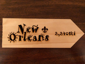 Your Miles to New Orleans Personalized Sign