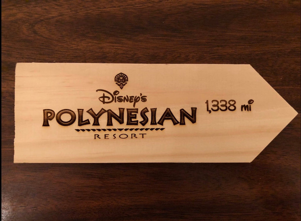 Your Miles to Disney's Polynesian Resort Personalized Sign