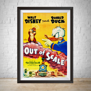 1951 Donald Duck Movie Poster - Out of Scale -Vintage Movie Poster